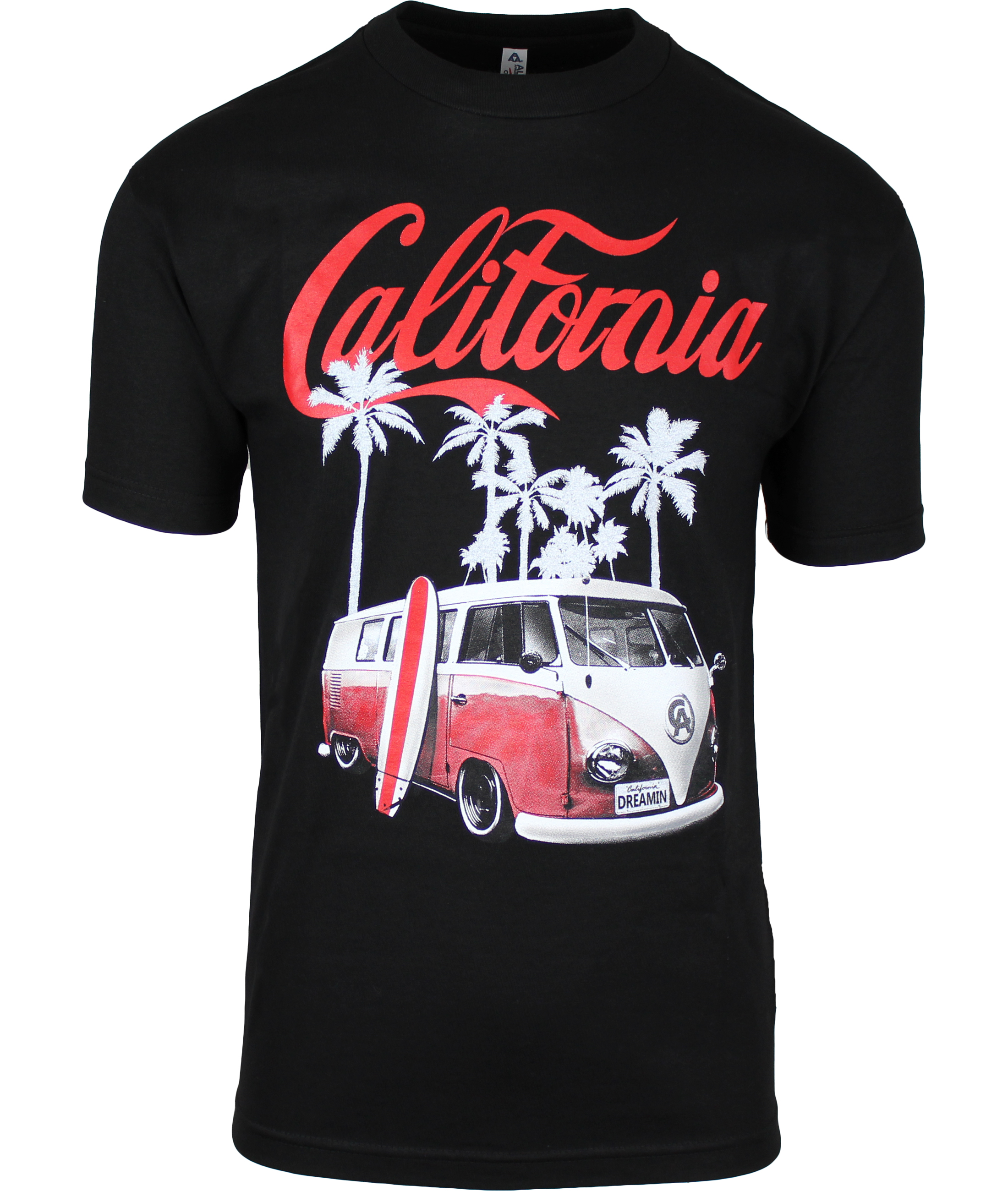 california dreaming beach van and surfboard mens t shirt ebay. Black Bedroom Furniture Sets. Home Design Ideas