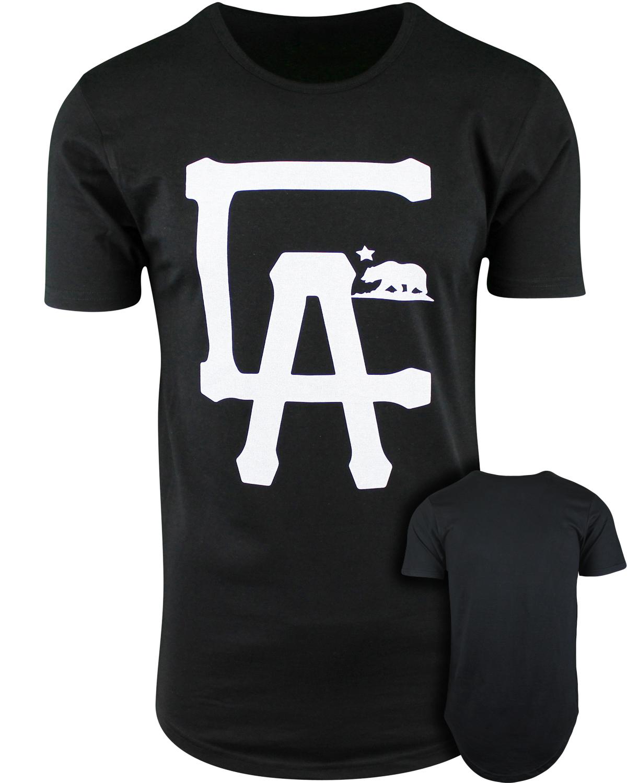 Ca la los angeles california mens elong drop tail hip hop for Los angeles california shirt